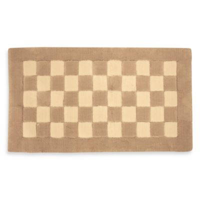 Park B. Smith® 20-Inch x 30-Inch Checkers Squares Bath Rug in Natural/Linen