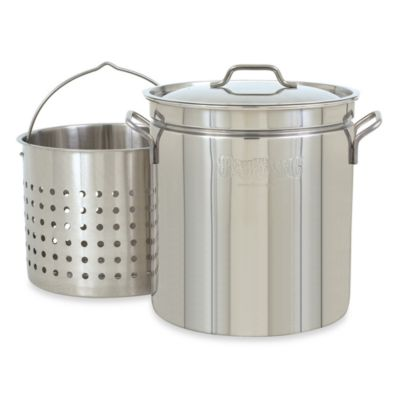 Bayou Classic 44-Quart Stock Pot with Basket and Vented Lid in Stainless Steel