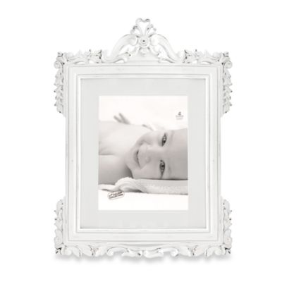 Natalia 8-Inch x 10-Inch White Distressed Wood Frame
