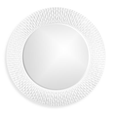 Howard Elliott Bergman 32-Inch Round Wall Mirror in White