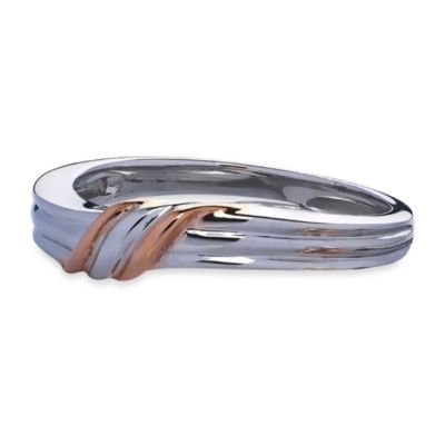 Ze™ Sterling Silver Rose Gold Diagonal Wrap Accent Wedding Band
