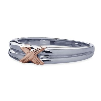 Ze™ Sterling Silver Rose Gold Cross Stitch Accent Wedding Band