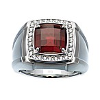 J. Goodman™ Sterling Silver 0.25 cttw Diamond and Garnet Checkerboard-Cut Ring