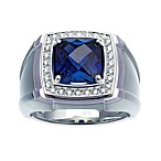 J. Goodman™ Sterling Silver 0.25 cttw Diamond and Sapphire Checkerboard-Cut Ring