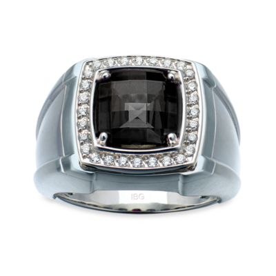 J. Goodman™ Sterling Silver 0.25 cttw Diamond and Onyx Checkerboard-Cut Ring