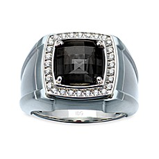 J. Goodman™ Sterling Silver .25 cttw Diamond and Onyx Squared Men's Ring