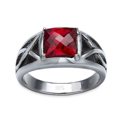 J. Goodman™ Sterling Silver Garnet Checkerboard-Cut Ring
