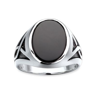 J. Goodman™ Sterling Silver Onyx Oval Ring