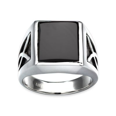 J. Goodman™ Sterling Silver Onyx Rectangular-Cut Ring