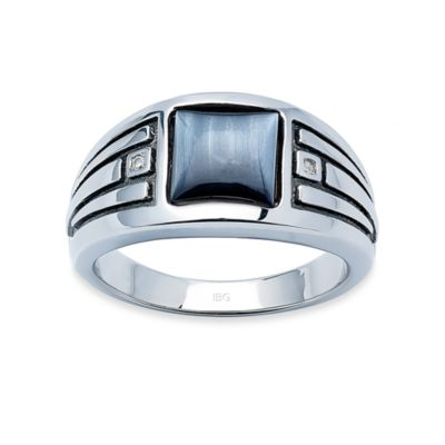 J. Goodman™ Sterling Silver Diamond Accent and Grey Catseye Square-Cut Ring