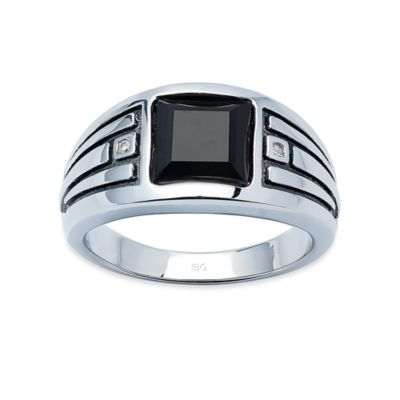 J. Goodman™ Sterling Silver Diamond Accent and Onyx Square-Cut Ring