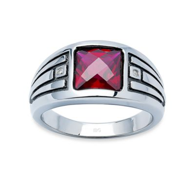 J. Goodman™ Sterling Silver Diamond Accent and Synthetic Garnet Cushion-Cut Ring