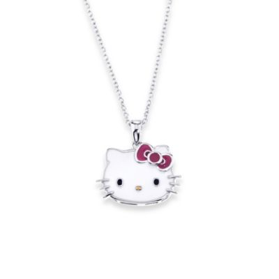 Hello Kitty® Women's Sterling Silver Enamel Face Pendant w/18-Inch Chain