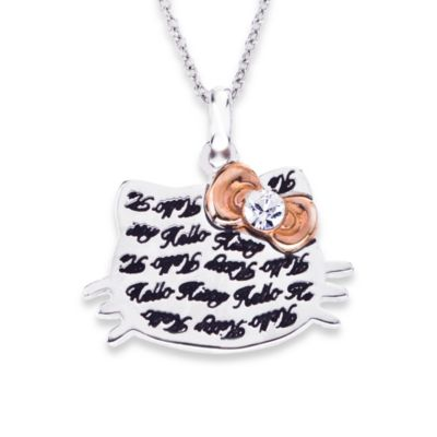 Hello Kitty Women's Sterling Silver Engraved Face w/Crystal and Rose Plated Bow Pendant
