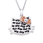 Sterling Silver Hello Kitty Engraved Face w/Crystal and Rose Plated Bow Pendant