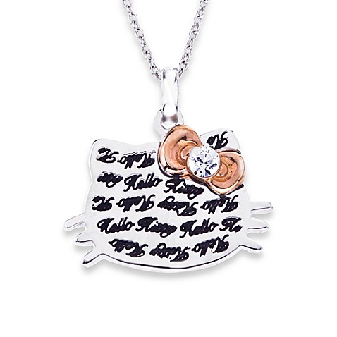 Hello Kitty® Women's Sterling Silver Engraved Face w/Crystal and Rose Plated Bow Pendant