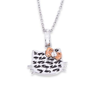 Hello Kitty Women's Sterling Silver Engraved Face with Rose Plated Bow Pendant w/18-Inch Chain