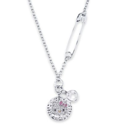 Hello Kitty Women's Sterling Silver Swarovski Crystal Pendant w/18-Inch Chain