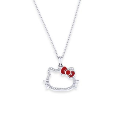 Hello Kitty Women's Sterling Silver 0.10 cttw Diamond Silhouette Pendant w/18-Inch Chain
