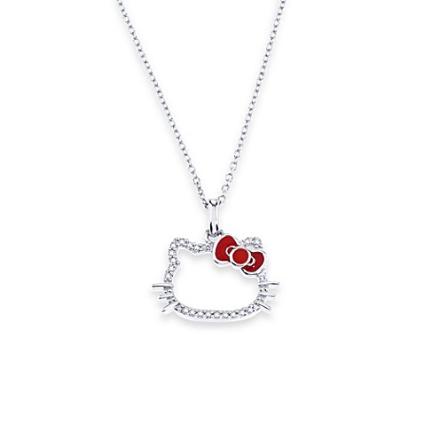 Hello Kitty® Women's Sterling Silver 0.10 cttw Diamond Silhouette Pendant w/18-Inch Chain