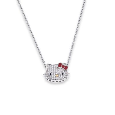 Hello Kitty Women's Sterling Silver 0.10 Diamond with Red Enamel Bow Pendant w/18-Inch Chain