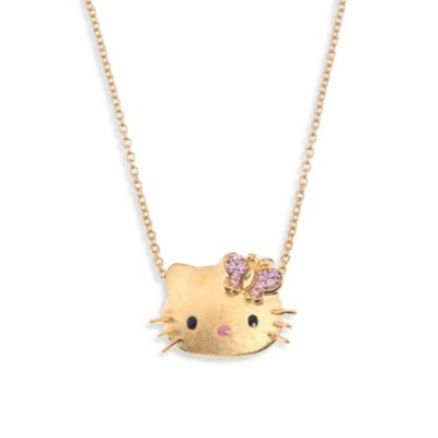 Hello Kitty Women's Gold Plated Sterling Silver Swarovski Crystal Pendant w/18-Inch Chain