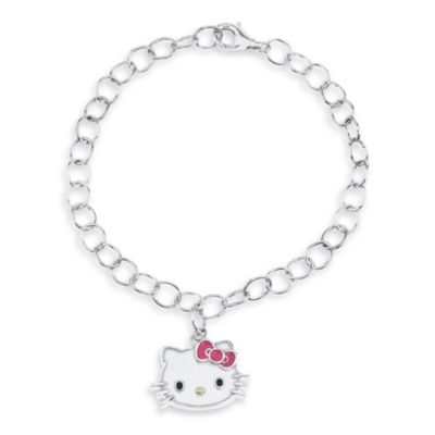 Hello Kitty Women's Sterling Silver Face Charm Bracelet