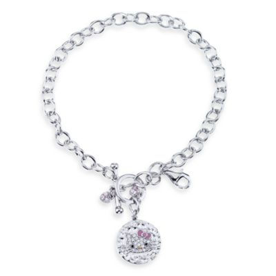 Hello Kitty Women's Sterling Silver Crystal Dangle Charm Bracelet