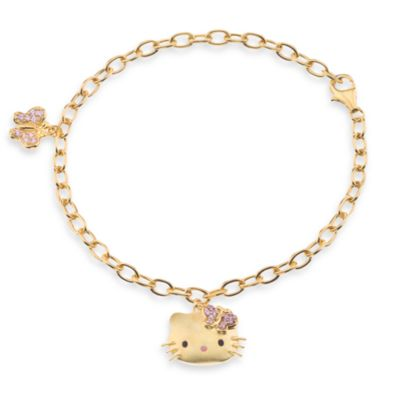 Hello Kitty Women's Gold Plated Sterling Silver Swarovski Crystal Charm Bracelet