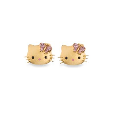 Hello Kitty Women's Gold Plated Sterling Silver Swarovski Crystal Stud Earrings