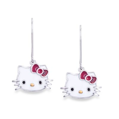 Hello Kitty Women's Sterling Silver Enamel Kitty Face Earrings