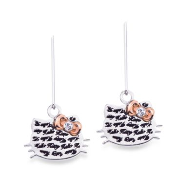 Hello Kitty Women's Sterling Silver Face with Pink Crystal Bow Earrings