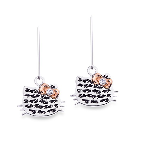 Hello Kitty® Women's Sterling Silver Face with Pink Crystal Bow Earrings