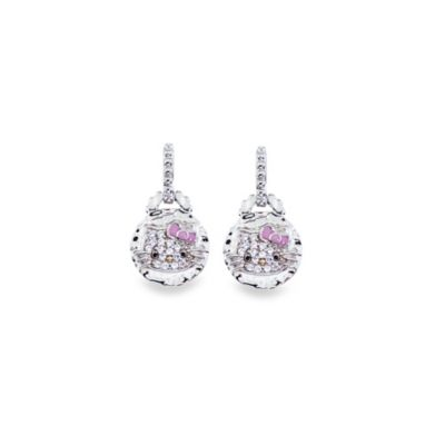 Hello Kitty® Women's Sterling Silver Crystal Dangle Earrings