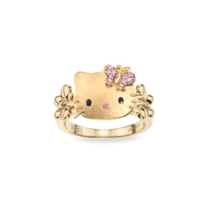 Hello Kitty Women's Gold Plated Sterling Silver Swarovski Pink Crystal Bow Size 7 Ring
