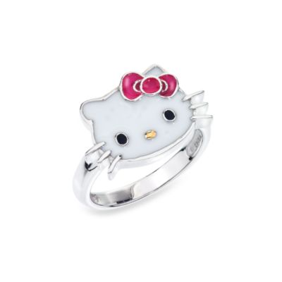 Hello Kitty Women's Sterling Silver Face with Pink Bow Size 7 Ring