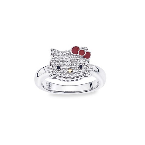 Hello Kitty® Women's Sterling Silver 0.1 cttw Diamond Classic Kitty with Red Bow Size 7 Ring