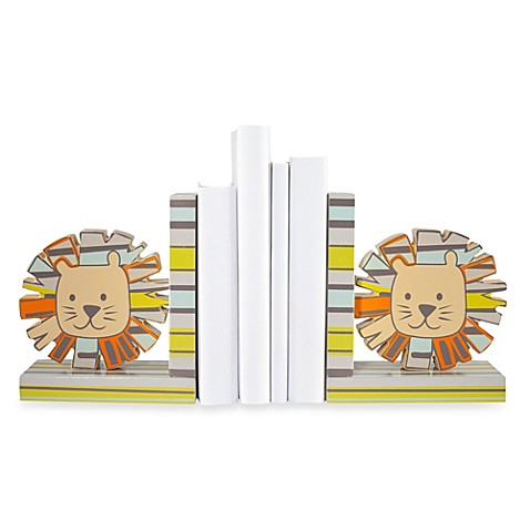 Set of Wooden Lion Bookends
