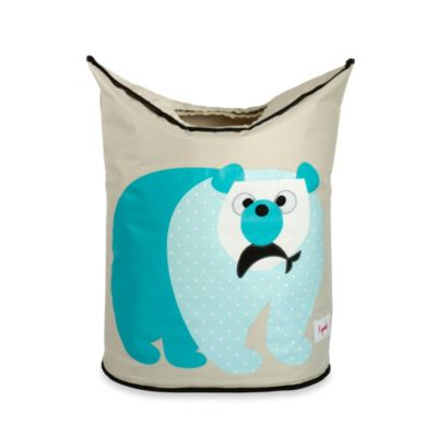 3 Sprouts Polar Bear Laundry Hamper in Blue