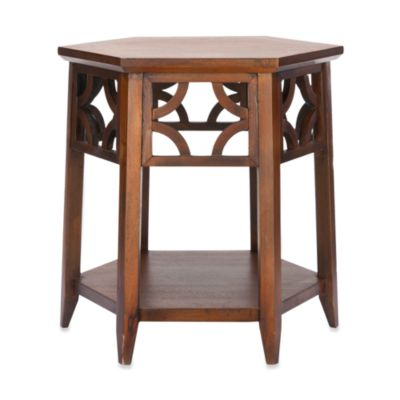 Safavieh Connor Hexagon End Table in Pearl Taupe