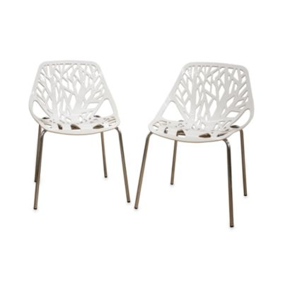 Plastic Dining Chair in White (Set of 2)