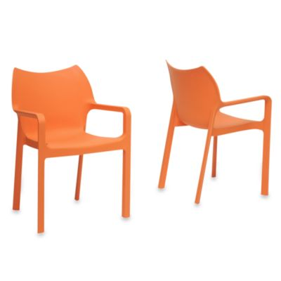 Limerick Plastic Stackable Dining Chair in Orange (Set of 2)