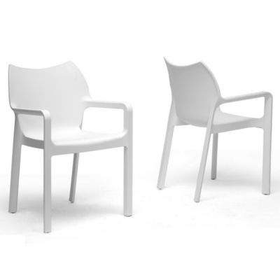 Limerick Plastic Stackable Dining Chair in White (Set of 2)
