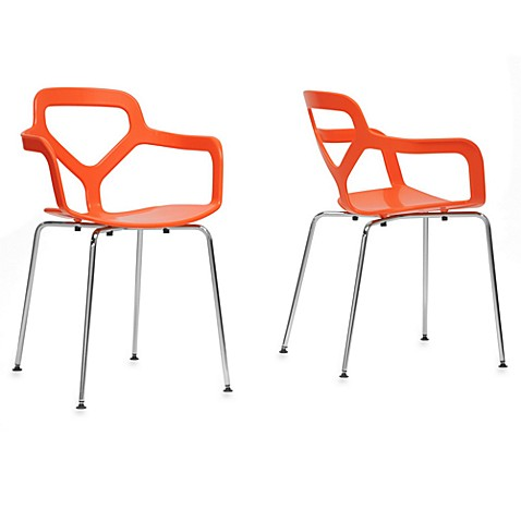Miami Plastic Modern Dining Chair in Orange (Set of 2)