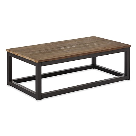 Zuo Modern Civic Center Long Coffee Table in Distressed Natural
