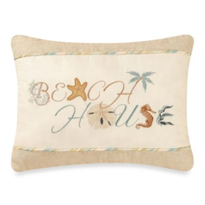 "Natural Seashells ""Beach House"" Toss Pillow"