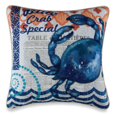 Blue Crab Square Throw Pillow