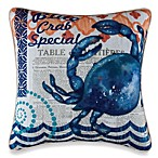 Blue Crab Square Toss Pillow