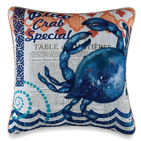 Buy Blue Crab Square Throw Pillow From Bed Bath Amp Beyond
