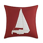 Sailboat Appliqued Red Toss Pillow